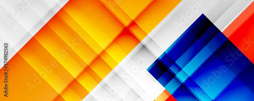 Fotografía Geometric abstract backgrounds with shadow lines, modern forms, rectangles, squares and fluid gradients