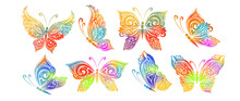 The Abstract Set Butterflies Is Multicolored. Vector Illustration