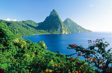 Soufriere And The Pitons, St. Lucia, Windward Islands, West Indies, Caribbean, Central America