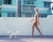Woman Wearing Bikini, Walking ...