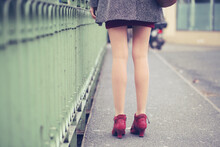Female Legs With Red Shoes At ...