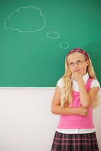 Classroom: Cute Girl Thinking Of Something