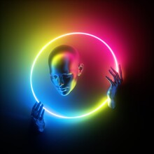 3d Render, Abstract Modern Minimal Concept. Mannequin Body Parts, Bald Head, Woman Face, Hands Holding Ring. Portrait Inside Colorful Neon Round Frame, Glowing Light