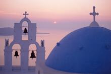 Sunset Over Greek Church, Oia, Santorini.