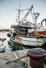 Old Dirty Fishing Boat In The Harbour