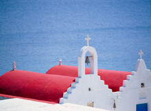 Red Roofs Of Church. Mykonos. Greece.