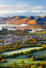 United Kingdom, England, Cumbria, Lake District, View Over Keswick And Derwent Water From The Skiddaw Range