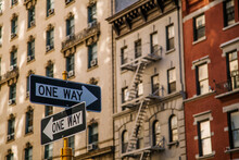 One Way Signs In Manhattan Streets