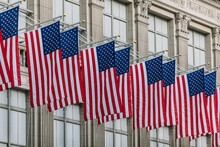 US Flags In A Manhattan Building