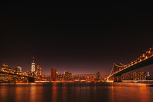 Nightscape Of Manhattan Skyline