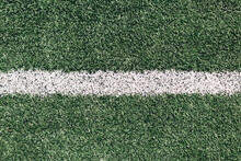 White Line On Grass Sports Field