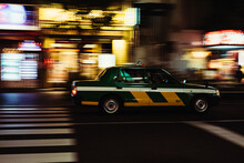 Tokyo Taxi Cabs On The Street At Night