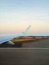View Of An Airplane Wing And R...