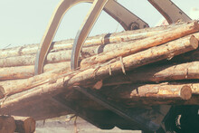 Closeup Of A Wheeled Log Front Loader Carrying Tree Trunks