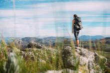 Female Hiker With A Backpack I...