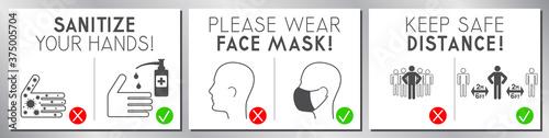 Fotografia Face mask required, distance, sanitize - Covid-19, SARS-CoV-2 virus - vector ill