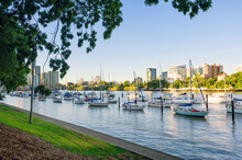 Brisbane River With Boats Moor...