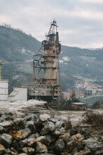 Abandoned Factory Site With Big Steel Tower In Former War Zone, Kosovo