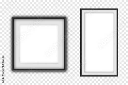Cuadros en Lienzo Realistic picture frame set, realistic square black frames mockup
