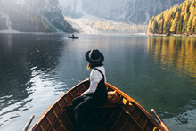 Young Woman In A Wooden Boat I...