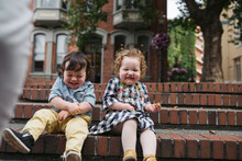 Twin Toddlers Laughing Togethe...