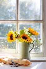 Sunflowers On A Sunny Window Sill