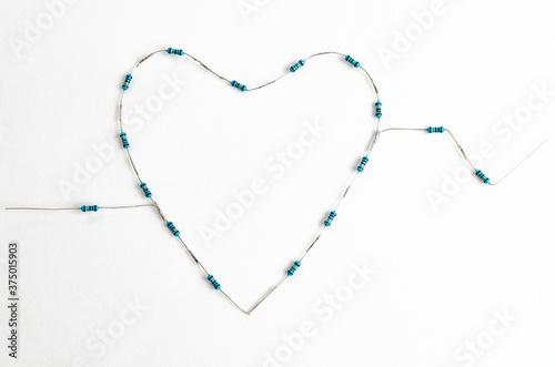 Corazón hecho con resistencias eléctricas Canvas