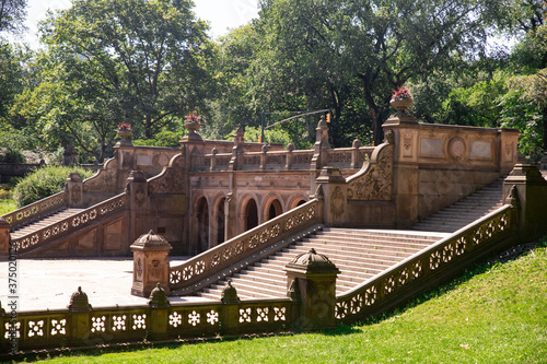Photo View from Central Park in New York City of the historic Bethesda Terrace Steps