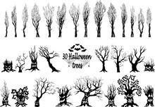 Set Of Spooky Halloween Tree C...