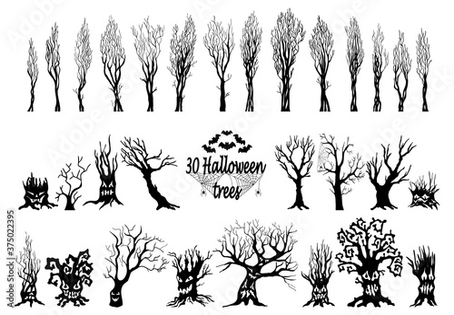 Vászonkép Set of spooky Halloween tree cartoon