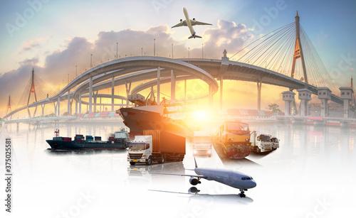 Fotografia Global business of Container Cargo freight train for Business logistics concept,