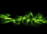 Fototapeta Do przedpokoju - illustration of Green luminous line of paricles representing a sound wave on a black abstract Futuristic digital background with copy space. Banner for your design