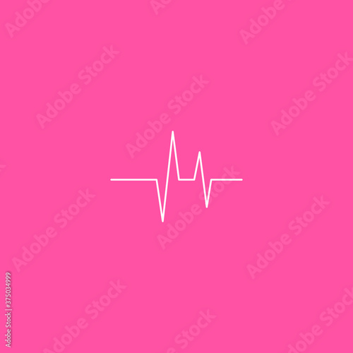 Heart beat monitor pulse line art icon for medical apps and websites isolated on Wallpaper Mural