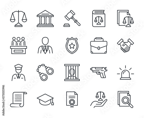 Fototapeta Law line icons set vector illustration. Editable stroke