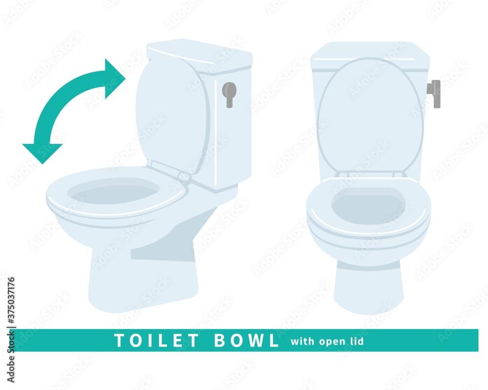 Fototapeta トイレ 便器 清潔 掃除 修理 水洗 タンク 斜め 蓋の開いた