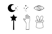 Doodle Magic Symbols Set Icon ...