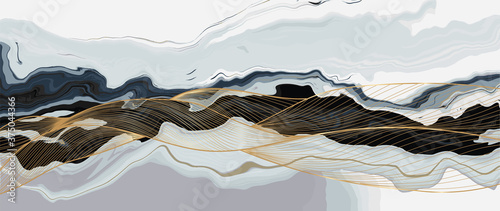 Obraz Luxury marble texture background design vector. Liquid marble texture with gold lines art creative wallpaper design for posters, business cards, invitation, art deco. vector illustration. - fototapety do salonu