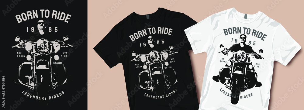 Fototapeta Born to ride motorcycle t-shirt design. Motorcycles and biker vintage retro t shirt designs vector illustration for fashion apparel.