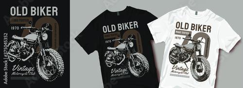 Old biker chopper motorcycle t-shirt design Fotobehang