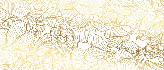 Luxury golden art deco wallpaper. Nature background vector. Floral pattern with golden split-leaf Philodendron plant with monstera plant line art on white background. Vector illustration.