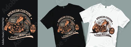 Canvas Print American customs motorcycle t-shirt design