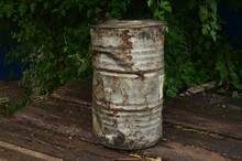 A Large Gray Barrel In The Village.