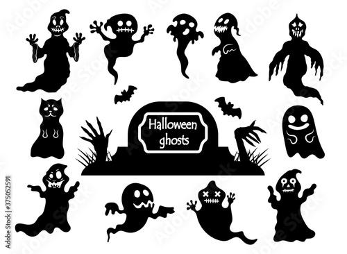 Slika na platnu Set of spooky Halloween ghosts