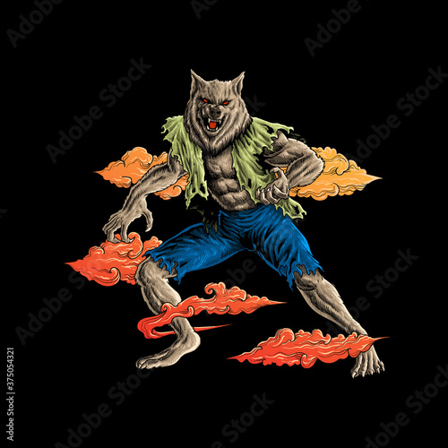 Fototapeta werewolves in the dark vector illustration