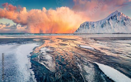 Foto Unbelievable winter view of Lofoten Islands, Norway