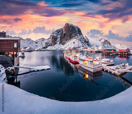 Sunrise on Hamnoy port with Festhaeltinden mount on background, Norway, Europe Wallpaper Mural