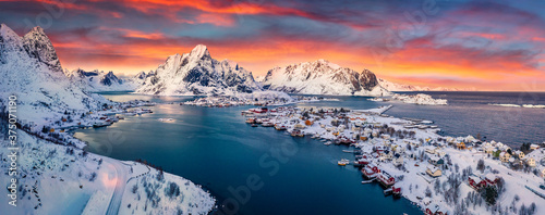 Canvas Print Panoramic evening view from flying drone of popular tourist destination - Reine town