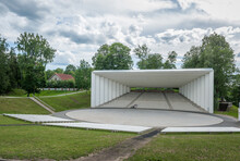 Song Festival Ground Amphitheater In Viljandi. View Of Outdoor Stage With Cloudy Sky. Estonia, Baltics.