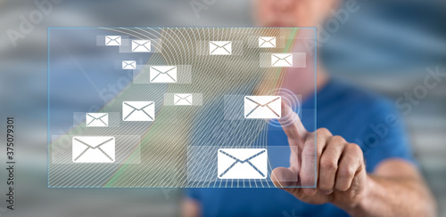 Man touching an email concept Fototapet