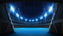 Stadium Tunnel Leading To Playground. Players Entrance To Illuminated Tennis Arena Full Of Fans. Digital 3D Illustration Background For Sport Advertisement.